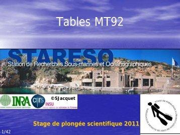 tables de plongée MT92