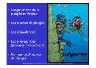 • L'organisation de la plongée en France • Les niveaux de plongée ...