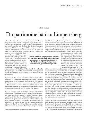 Du patrimoine bâti au Limpertsberg