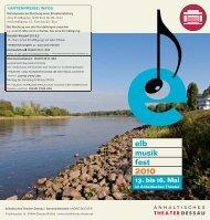 elb musik fest 2010 13. bis 16. Mai - Anhaltisches Theater Dessau