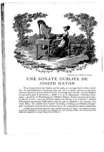 UNE SONATE OUBLIÉE DE JOSEPH HAYDN - Free