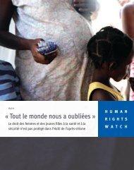 « Tout le monde nous a oubliées » - Human Rights Watch