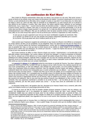 La confession de Karl Marx1 - Marxists Internet Archive