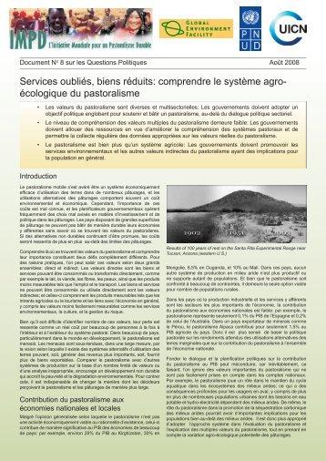 Services oubliés, biens réduits: comprendre le système agro ... - IUCN