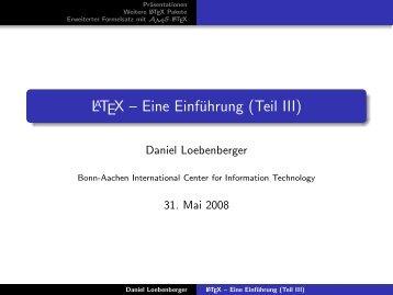 LaTeX -- Eine Einführung (Teil III) - b-it cosec