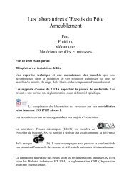 Le Laboratoire d'Essais Meubles, Sièges, literie et composants - Ctba