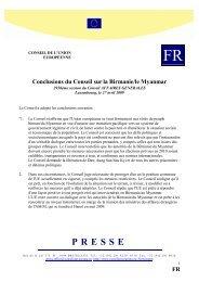Conclusions du Conseil sur la Birmanie/le Myanmar - Europa