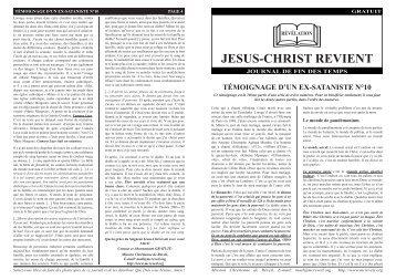 TÉMOIGNAGE D'UN EX-SATANISTE N°10.indd - Jesus is coming ...