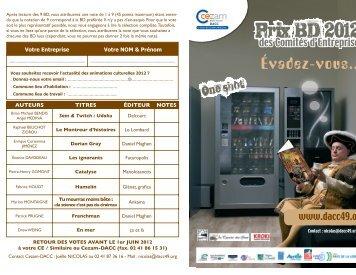 sélection prix BD 2012 - CAS Angers