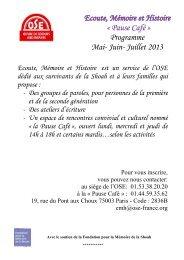 Ecoute, Mémoire et Histoire « Pause Café » Programme Mai- Juin ...