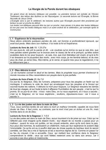 Lectures pour les funérailles - Paroisses de Lille