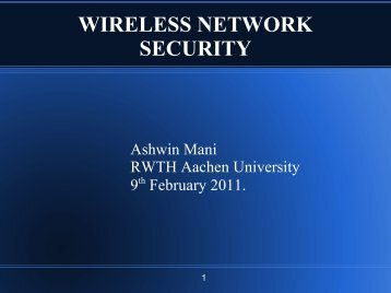 Wireless Network Security - cosec