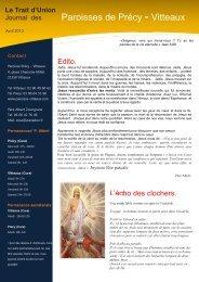 Trait d'Union paroisse de Vitteaux & Précy Avril 2013