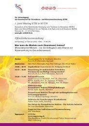 1. Joint Meeting GTH & NVTH Öffentlichkeitsveranstaltung