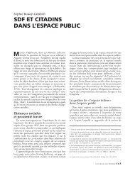 sdf et citadins dans l'espace public - Annales de la Recherche Urbaine