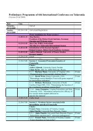 Preliminary Programme of 6th International Conference on Tularemia