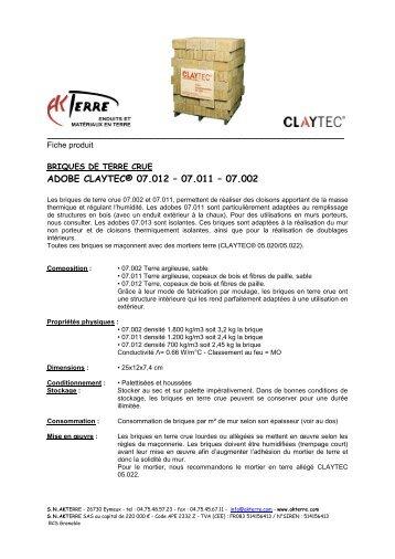Briques de terre crue - Adobes CLAYTEC - Akterre