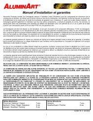 Manuel d'installation et garanties - Aluminart