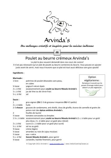 Téléchargement recette - Arvinda's