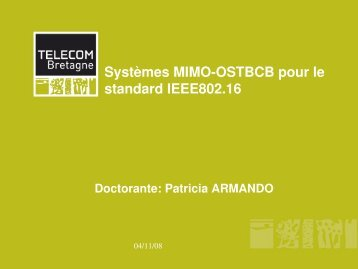 Systèmes MIMO-OSTBCB pour le standard IEEE802.16