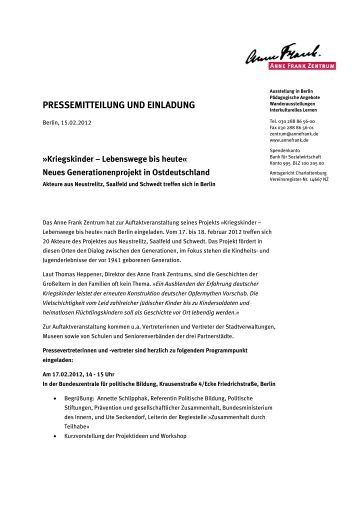pressemitteilung und einladung anne frank zentrum - Anne Frank Lebenslauf