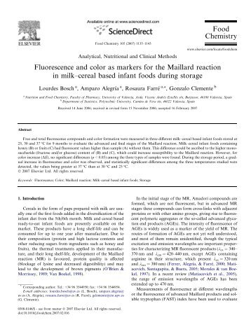 Fluorescence and color as markers for the Maillard reaction ... - DePa