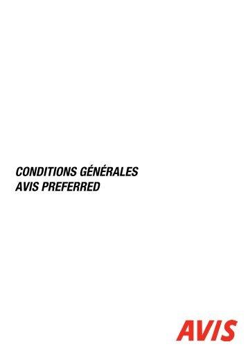 CONDITIONS GÉNÉRALES AVIS PREFERRED