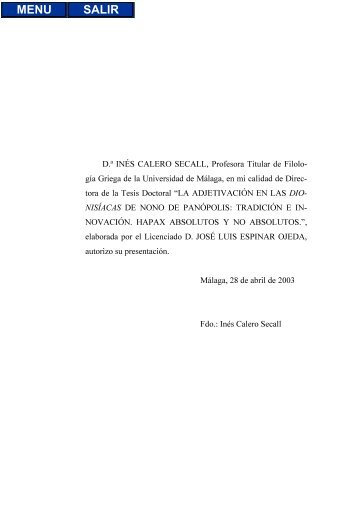D.ª INÉS CALERO SECALL, Profesora Titular de Filolo - Biblioteca ...