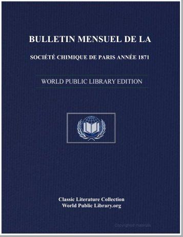 bulletin mensuel de la société chimique de paris année 1871