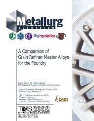 A Comparison of Grain Refiner Master Alloys for the Foundry