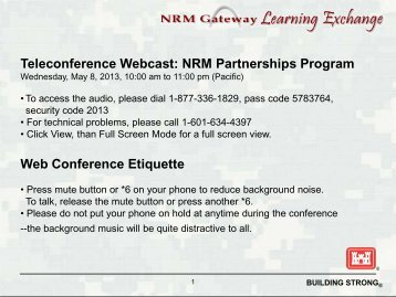 Volunteer Program Webinar - Natural Resources Management ...
