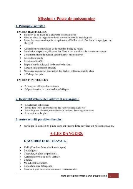 Fiche De Poste De Poissonnier Pdf Cgt Groupe Casino