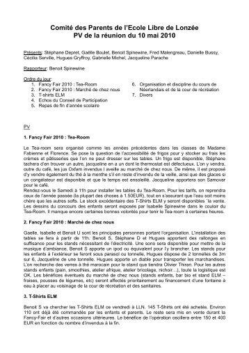 PV Comité Parents (mai 2010) - Ecole Libre de Lonzée