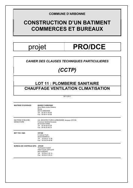 991 DCE CCTP - Lot 13 -CVC - PS - Mairie d'Arbonne