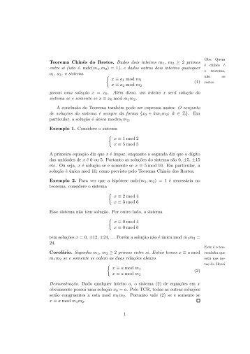Texto complementar sobre o teorema dos restos chineses - PUC-Rio