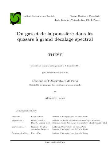 Du gaz et de la poussi`ere dans les quasars ` - Institut d ...
