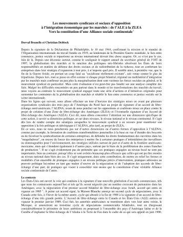 Les mouvements syndicaux et sociaux d'opposition à l ... - IEIM