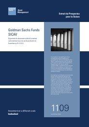 Goldman Sachs Funds, SICAV. Extrait du Prospectus pour la Suisse.