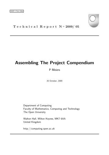 Assembling The Project Compendium - Computing Technical ...