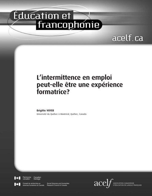 L'intermittence en emploi peut-elle être une expérience ... - acelf