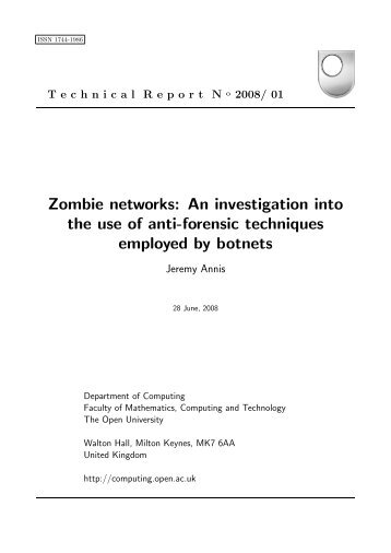 Zombie networks: An investigation into the use of anti-forensic ...