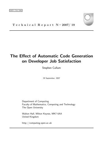 The Effect of Automatic Code Generation on Developer Job ...