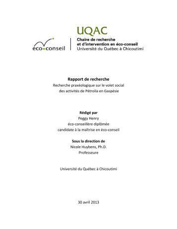 Rapport de recherche - Projet Haldimand - Pétrolia