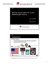 Rapid Analysis of Live Response Data - SANS Computer Forensics