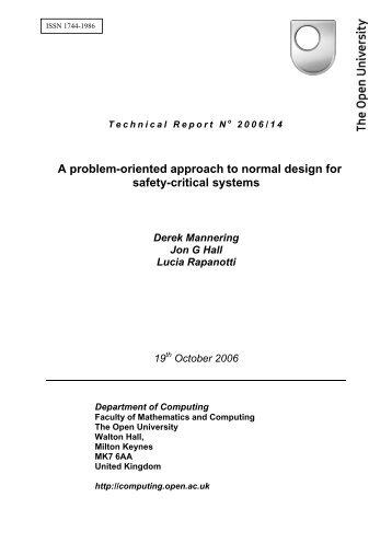 A problem-oriented approach to normal design for safety-critical ...