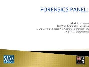 Mark McKinnon RedWolf Computer Forensics Mark ... - SANS