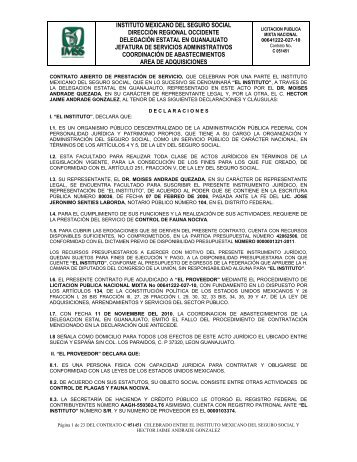 el contrato - compras del IMSS - Instituto Mexicano del Seguro Social