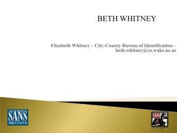 BETH WHITNEY - SANS
