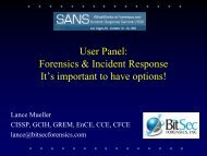 Lance Mueller - SANS Computer Forensics