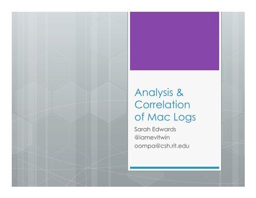 Analysis & Correlation of Mac Logs - SANS